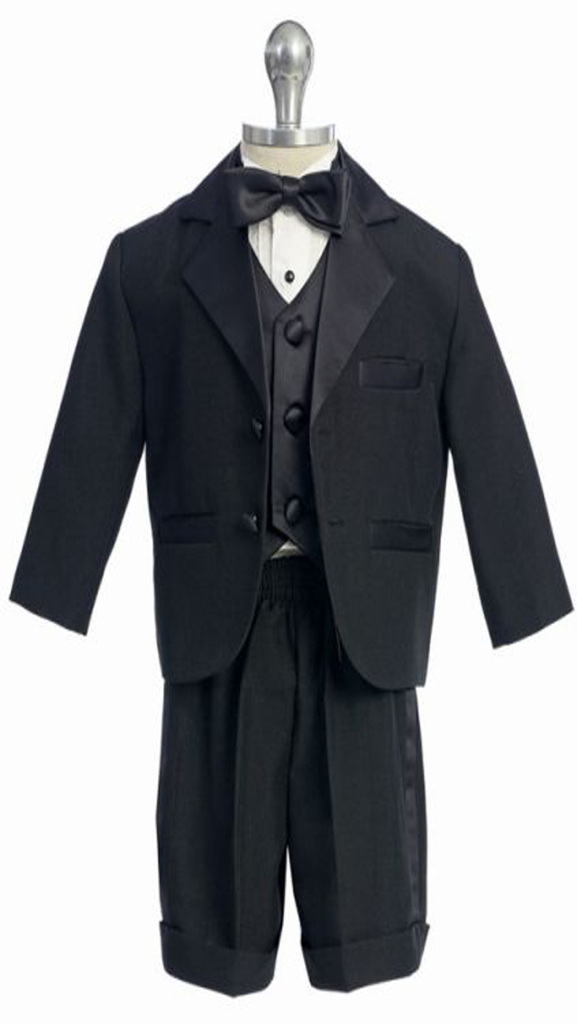 Black Boy's Tuxedo Suit w Shorts