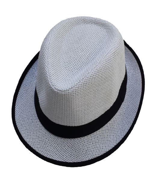 Boys White Straw Fedora Hat