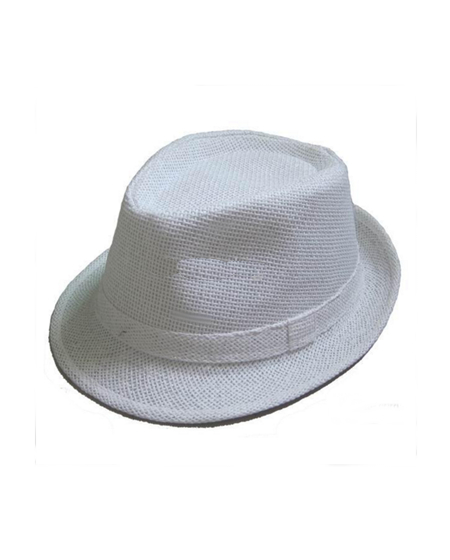 Boys Paper Straw Fedora - White