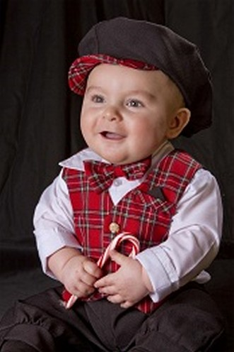 Infants Red Plaid Knickerbocker Set