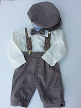 Just Darling Boys Taupe Plaid Knickerbocker Knicker Set