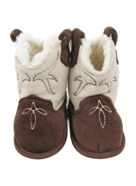 Baby Deer Sherpa-Lined Cowboy Boot Slippers