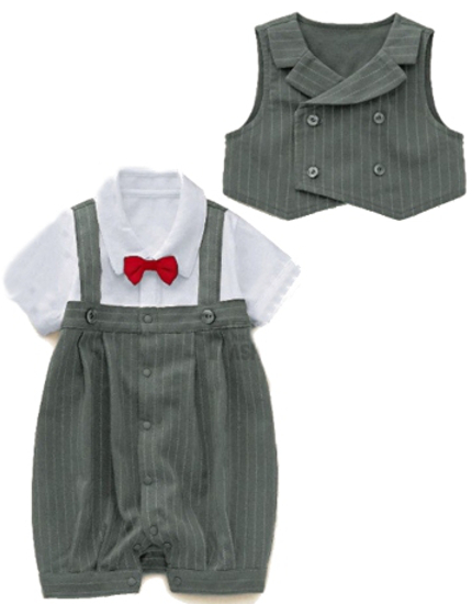 Boys Charcoal Pin Stripe Infants Special Occasion Tuxedo Suit Outfit & Vest
