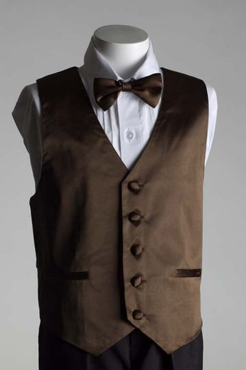 Close-Out Chocolate Brown Satin Vest - 3 Piece Set