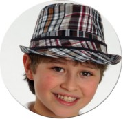 Toddler / Youth Boys Cotton Plaid Fedora - Brown