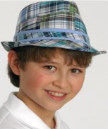 Toddler / Youth Boys Cotton Plaid Fedora - Blue