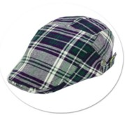 Toddler / Youth Boys Plaid Cotton Golf Driver Cap - Navy