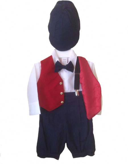 *Exclusive* Be Mine Navy Knicker Set With Red Velvet Finish Vest