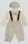 Fouger Tan Checked Infant Boys Linen Knicker Set