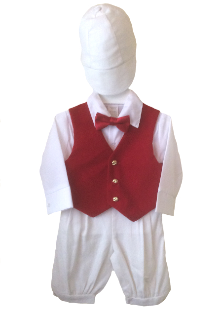 *Exclusive* Wee Valentine White Knicker Set With Red Velvet Finish Vest