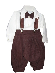 Fouger Infant Boys Solid Brown Linen Knicker Set