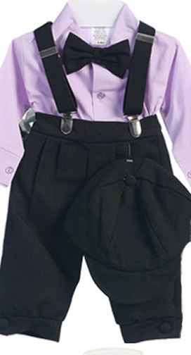 Infant Boys Black Knicker Pants with Lavender Shirt