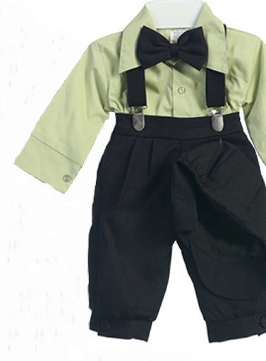 Infant and Toddler Black Knicker Pants with Sage Shirt