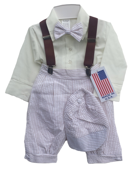 Seersucker Infants Knickerbockers Set - Khaki *Sale*