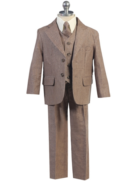 Boys Brown Linen 5-Piece Suit