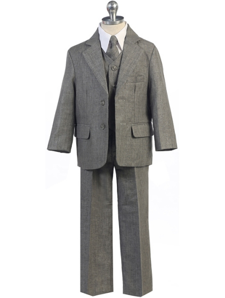 Boys Charcoal Gray Linen-Look 5-Piece Suit