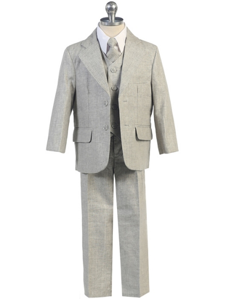 Boys Light Gray Linen 5-Piece Suit