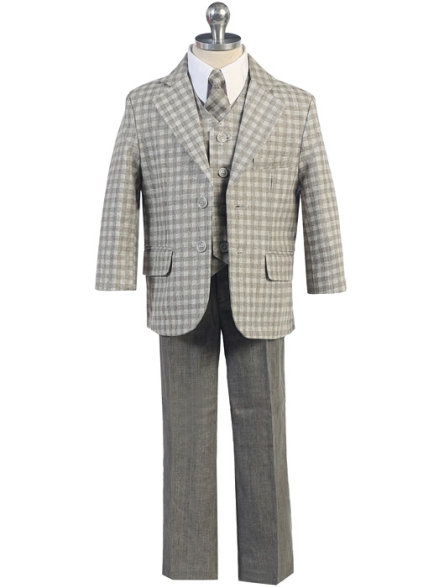 Boys Checked Gray Linen Suit *Sale*