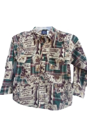 Tow Away Zone Fishing Pattern Cotton Boy's Oxford Shirt 2 - 7