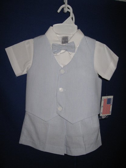 Boys Blue Seersucker Short Set - Light Blue
