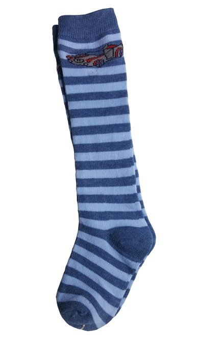 Boys Stripe Knee Socks - Light Blue and Dusty Blue