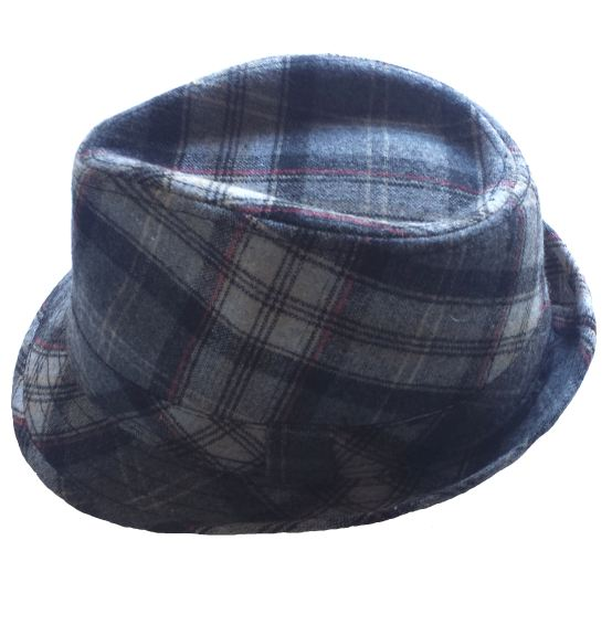 Boys Gray Plaid Wool Fedora
