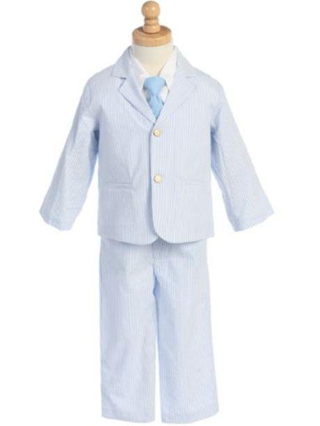 Boy's 4 - Piece Striped Seersucker Boy's Casual Suit in Blue