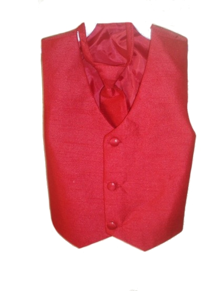 Red Poly Silk Vest & Wrap Around Long Tie