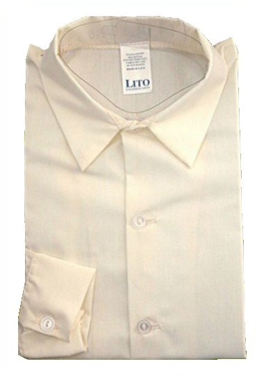 Dapperlads Lito Plain Boys Long Sleeve Dress Shirt Ivory