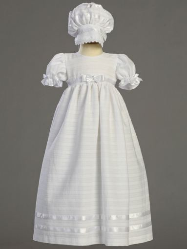 Baby Girl's Cotton Christening Long Dress & Bonnet