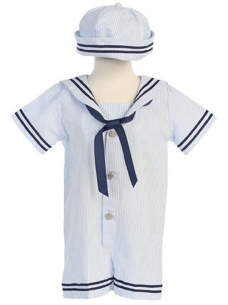 Striped Sailor Seersucker Romper - Light Blue