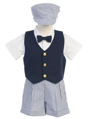 **Sale** Striped Seersucker Shorts Set With Navy Vest