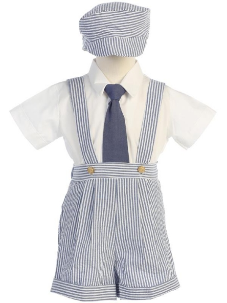 **Sale** Striped Seersucker Suspendered Shorts Set - Blue