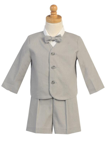 Rayon-Linen Eton Jacket and Shorts Set - Light Gray