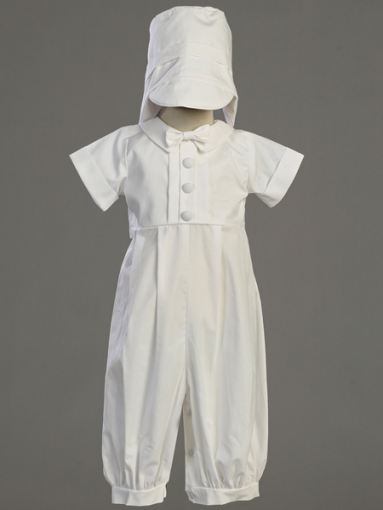 Cotton Christening Long Romper & Hat