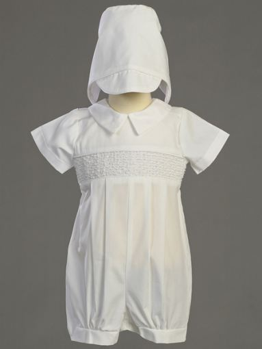 Boy's Smocked Cotton Christening Romper