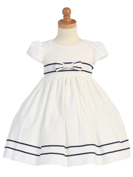 Striped Sailor Seersucker Dress - White