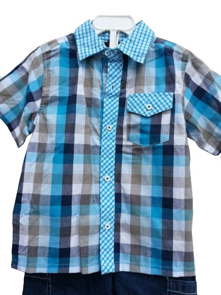 Toddler Boys Retro Checked Camp Shirt & Tee