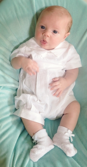 Lito Seersucker Boys Christening Long Romper *Sale*