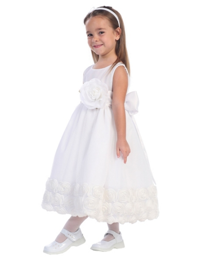 White Tulle Flower Girl Dress - Detachable Sash and Flower