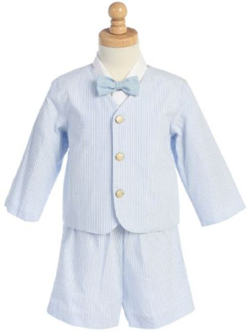 Striped Seersucker Eton Suit - Light Blue