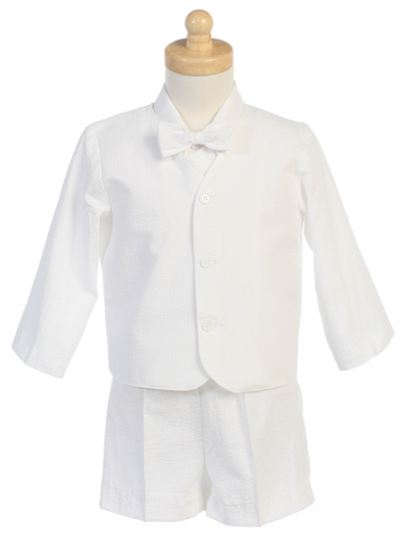 Close-Out White Seersucker Eton Suit 18-24 mo