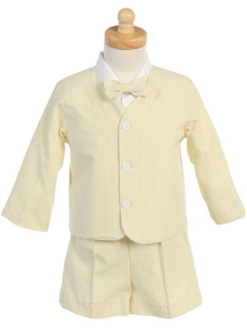 Lito Yellow Striped Seersucker Eton Suit 6m - 4T