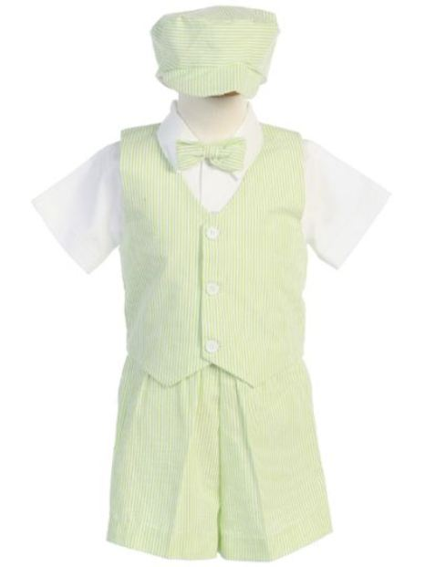 Lito Boys Green Striped Seersucker Shorts Set