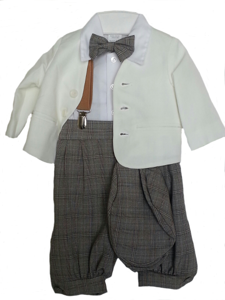 *Exclusive* Eton Ivory Jacket With Toffee Plaid Knickerbockers