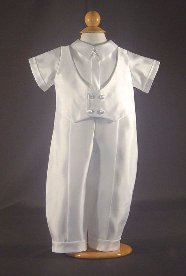 Christening One-Piece Suit in Shantung Satin