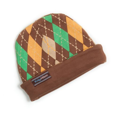 Baby Boy Argyle Beanie Cap in Brown