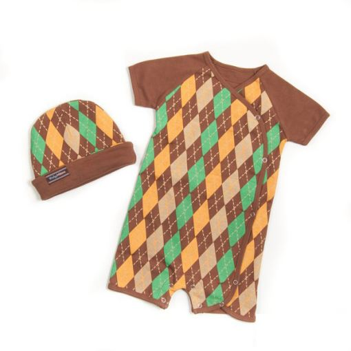 Baby Boy Argyle Romper Set in Brown