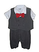 DapperLads Charcoal Pin Stripe Cotton Knit Knicker Romper & Vest