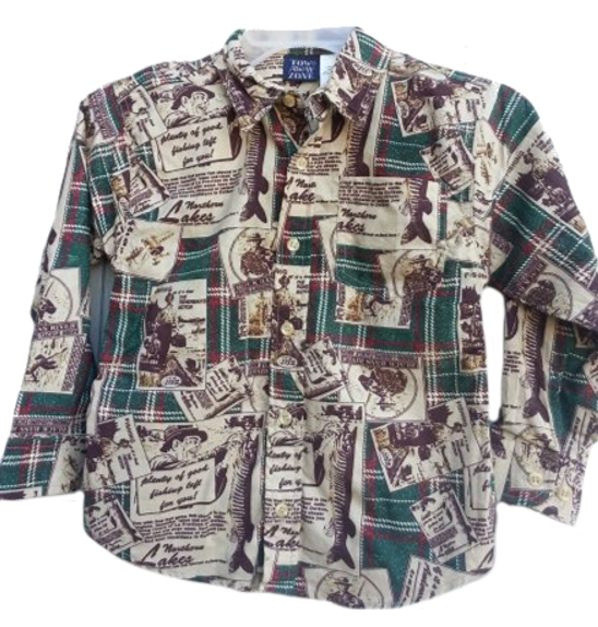 Dapperlads Boys Retro Fishing Pattern Button Down Shirt